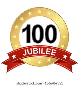 round jubilee button with red banner for marketing use for 100 years