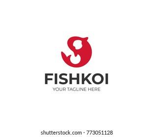 Round Koi Logo Template. Carp Vector Design. Fish Illustration