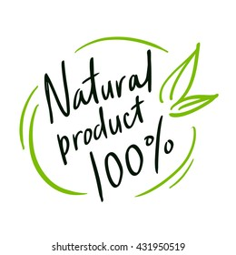 """Round label green stamp """"natural product""""."""