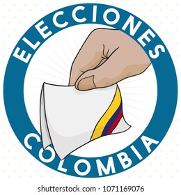 Round label with hand holding a pledge electoral card with the colors of the tricolor flag for Colombian Elections (written in Spanish).