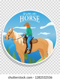 Round label with western horse and cowgirl
