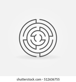 Round labyrinth line icon. Vector minimal circle maze symbol or design element