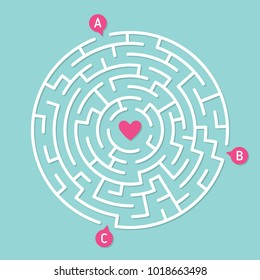 Round labyrinth maze game, find your path to heart. Concept of love