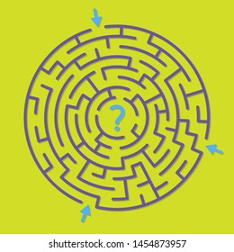 Round labyrinth maze game, find the right path