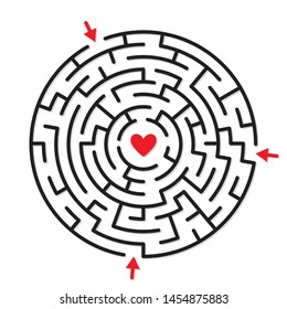 Round labyrinth maze game, find the right and fastest way to red heart
