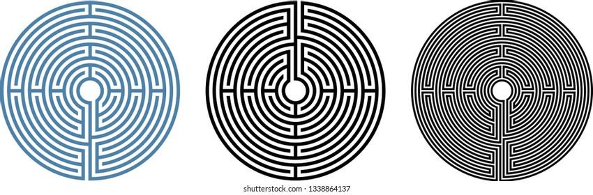 Round labyrinth vector circular path