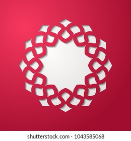 Round lace cutout frame with shadow. Cherry red background. Laser cutting mandala element. Vintage paper cut 3d ornamental border. Invitation or greeting card design template. Vector illustration