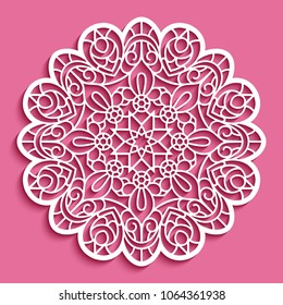 Round lace doily, cutout paper pattern, ornamental circle mandala, vector template for laser cutting, eps10