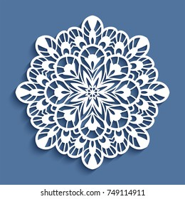 Round lace doily, vector snowflake, cutout paper pattern, mandala, Christmas decoration,  circle ornament for laser cutting or wood carving, eps10