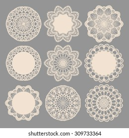 Round lace napkins. Vector collection