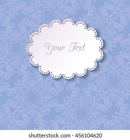 Round lacy ornamental frame on seamless ornamental blue background. 3d cutout doily with shadow. Paper cut design. Invitation or greeting card design template. Vector illustration EPS 10