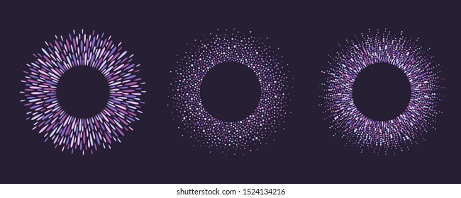 Round lilac, purple colorful frames set, collection. Ring shape, magic violet circle made of drops, uneven dots, paint splashes, specks, tiny spots, blobs. Radial templates for borders, backgrounds.