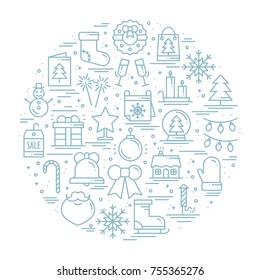 Round line christmas illustration with different winter symbols, elements, icons including presents, christmas tree, firework, bell, snowflakes socks, candy cane. Unique Xmas New Year holidays print