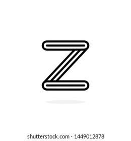 Round Line Vector Logo Letter Z. Z Black and White Lines Letter Design Vector