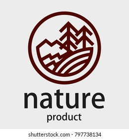 Round linear logo. Firs, mountains, river. Nature