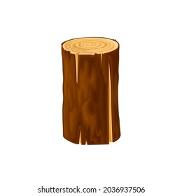 Round log, wood for fire or campfire isolated flat cartoon icon. Vector woodpile bark of felled dry wood, woodpile chopped tree trunk woodwork material. Oak or pine timber, lumber stick, circle plank