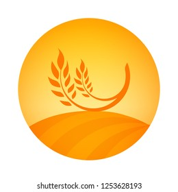 Round Logo emblem of Wheat Harvest. Vector label illustration for celeal organic farm with Ear of Wheat.