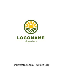 Round logo for organic farms depicting the sun and fields.