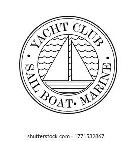 Round logo for the yacht club. Vector image.