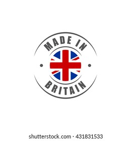 "Round ""Made in Britain"" label with UK flag"