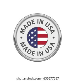 "Round ""Made in USA"" badge with USA flag"