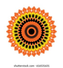 Round mandala. Arabic, Indian, Islamic, Ottoman ornament. Red and orange floral pattern, motif isolated on white background. Vector illustration.