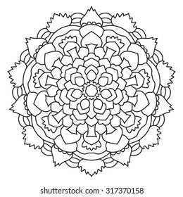 Round mandala drawn with black lines on a white background.  Vector symmetrical ornament.