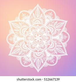 Round mandala on dreamy gradient background. Translucent mesh pattern in the form of a mandala. Mandala with floral patterns. Yoga template.