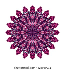 Round mandala. Pink floral pattern, Arabic, Indian, Islamic, Ottoman ornament, Ramadan Kareem motif isolated on white background. Vector illustration for greeting cards, banners, invitations etc.