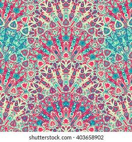 Round mandala seamless pattern. Arabic, Indian, Islamic, Ottoman ornament. Pink and blue floral pattern, motif. Vector illustration.