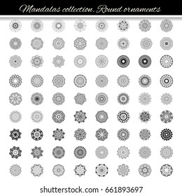 Round mandalas in vector. Abstract design element. Decorative retro ornament. Graphic template for your design.