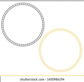 round marine icon on white background. flat style. rope frame icon for your web site design, logo, app, UI. Thin line climbing twisted rope symbol.