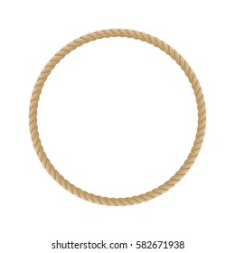 Round marine rope frame for photo or text. Vintage framework isolated on white background. Vector illustration. EPS 10.