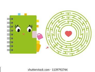 Round maze with a cartoon character. Cute notepad with a lock. An interesting and developing game for children. Simple flat isolated vector illustration.