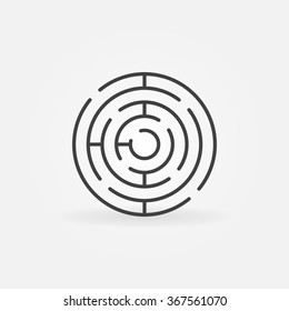 Round maze icon - vector simple circle labyrinth sign or logo element in thin line style