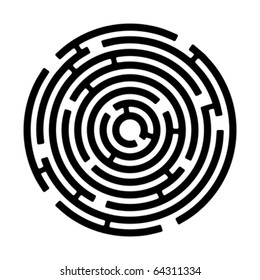 round maze isolated on white, vector illustration