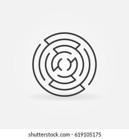 Round maze line icon - vector simple circular labyrinth symbol or design element