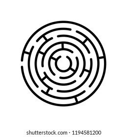 Round maze. Vector isolated design element.  Symbol of labyrinth.