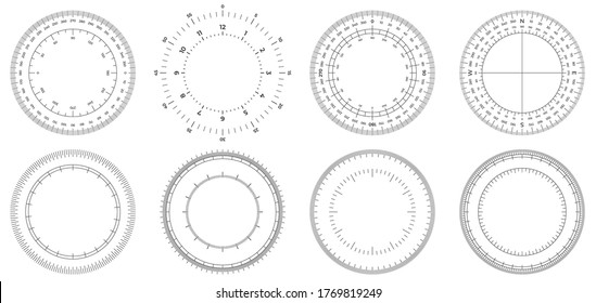 Round measuring circles. 360 degrees scale circle with lines, circular dial and scales meter vector set. Illustration circle degree, meter circular 360, measurement time or angle