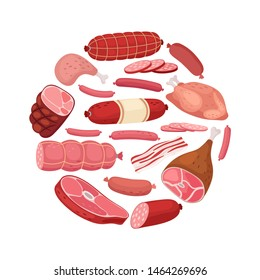 Round meat banner. Vector chicken, salami, sausage and fresh meat isolated on white background. Illustration of meat food, wurst and salami, barbecue steak