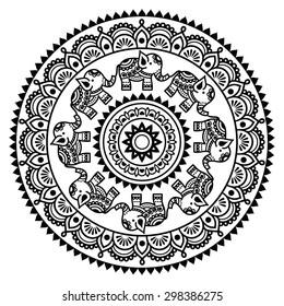 Round Mehndi, Indian Henna tattoo pattern