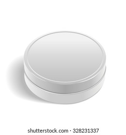 round metal box isolated on white background