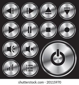 Round metal media-player button.