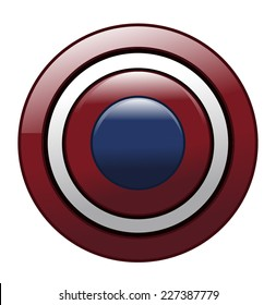 Round Metal Red White and Blue American Shield
