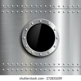 Round metal window with rivets. Vector image.