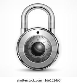 Round metallic code padlock isolated on white, vector illustration