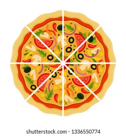 Round Mexican pizza with olives, onion, mushrooms, tomatoes, pepper and cheese cut into triangular pieces flat single icon vector isolated on white