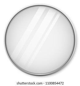 Round Mirror with Chrome Frame on the Wall Vector Template.