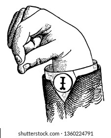 Round Mixed Primary Low Vowel positions are distinguished by always having the voice phalanx of the thumb accented and in contact with the terminal phalanx of the accented finger, vintage line drawing