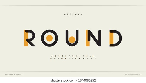 Round modern alphabet. Dropped stunning font, type for futuristic logo, headline, creative lettering and maxi typography. Minimal style letters with yellow spot. Vector typographic design - Shutterstock ID 1844086252